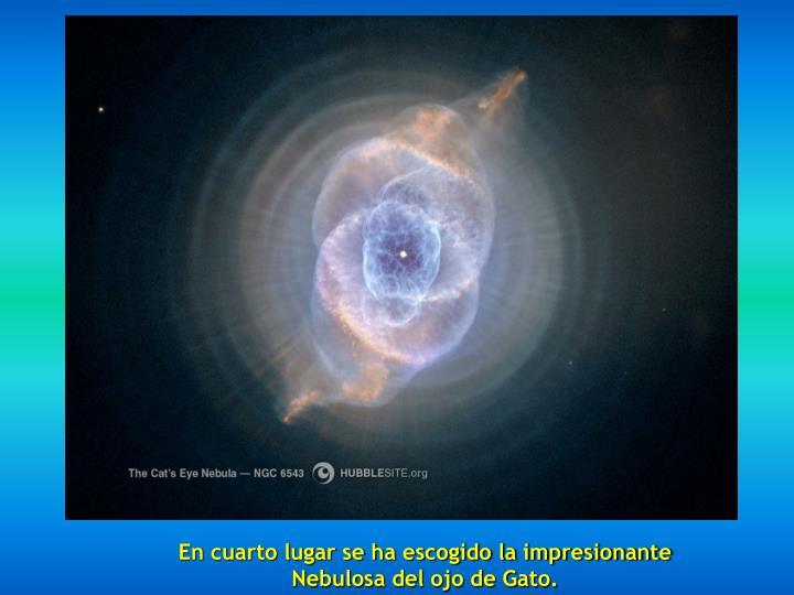 En cuarto lugar se ha escogido la impresionante Nebulosa del ojo de Gato.