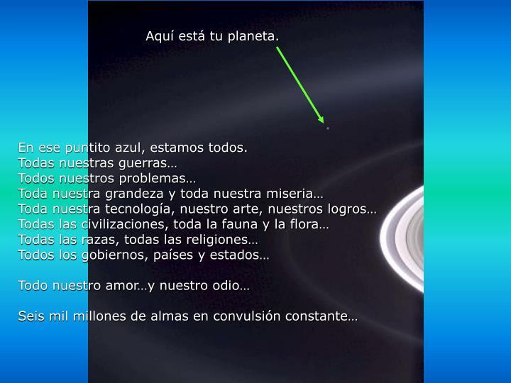 Aquí está tu planeta.
