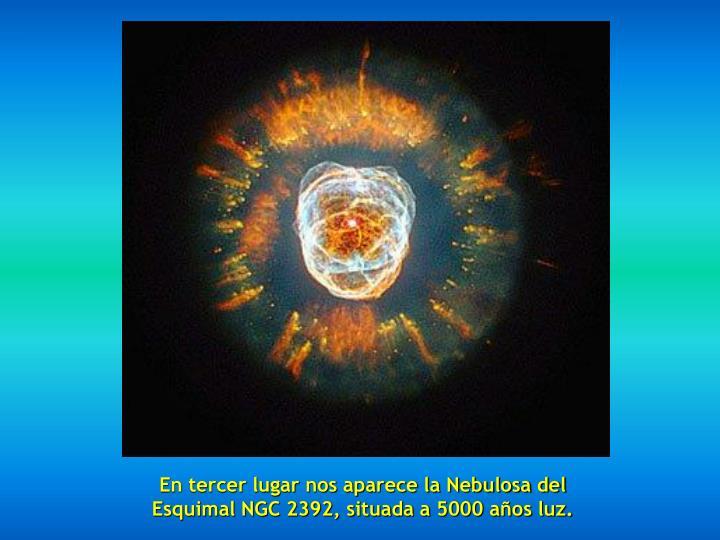 En tercer lugar nos aparece la Nebulosa del Esquimal NGC 2392, situada a 5000 años luz.