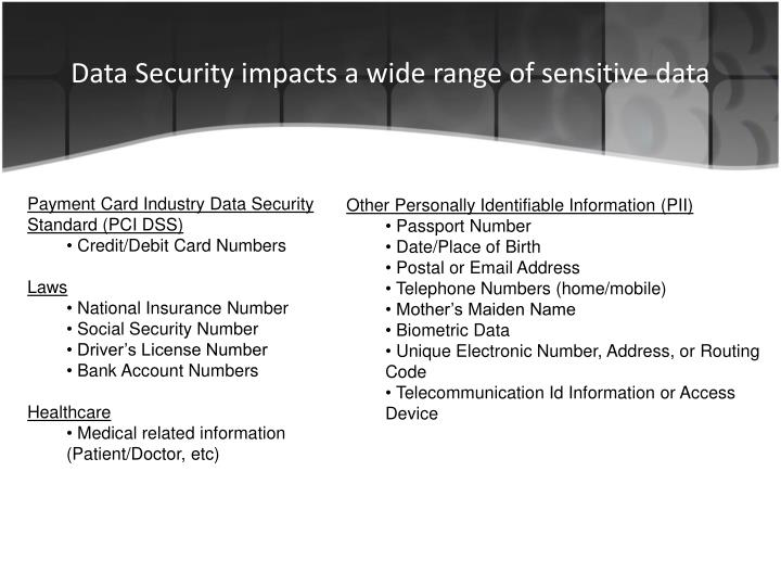 Data Security impacts a