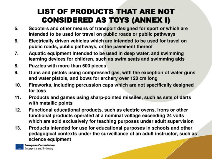 LIST OF PRODUCTS THAT ARE NOT CONSIDERED AS TOYS (ANNEX I)
