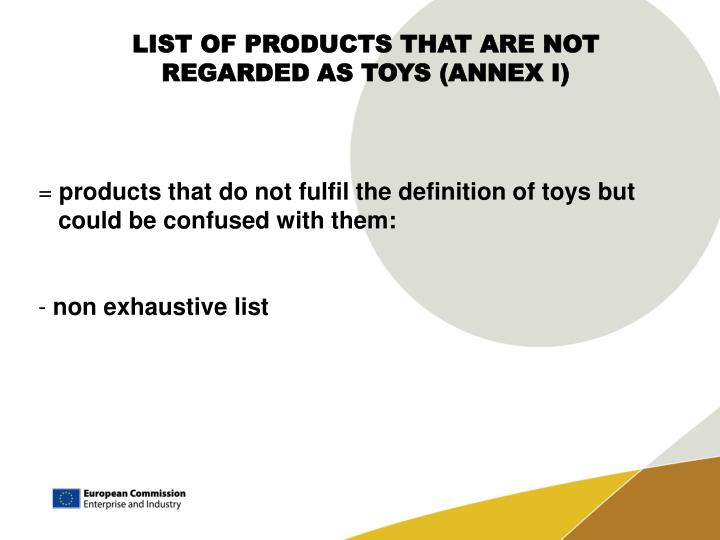 LIST OF PRODUCTS THAT ARE NOT REGARDED AS TOYS (ANNEX I)