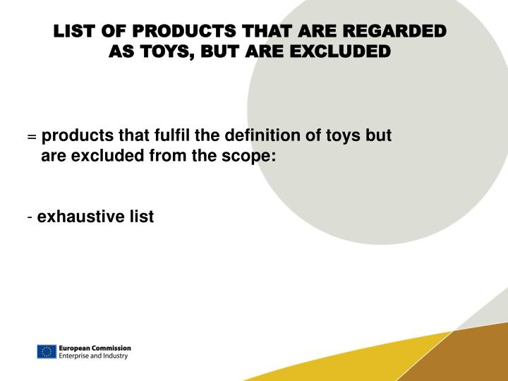 LIST OF PRODUCTS THAT ARE REGARDED AS TOYS, BUT ARE EXCLUDED