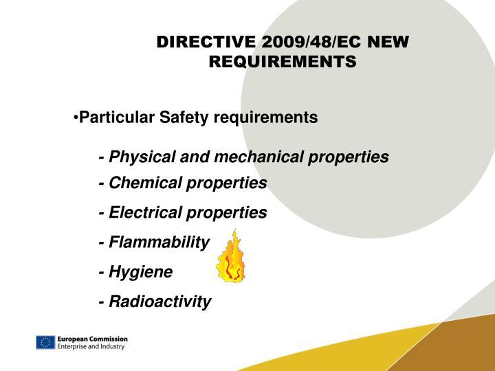 DIRECTIVE 2009/48/EC NEW REQUIREMENTS
