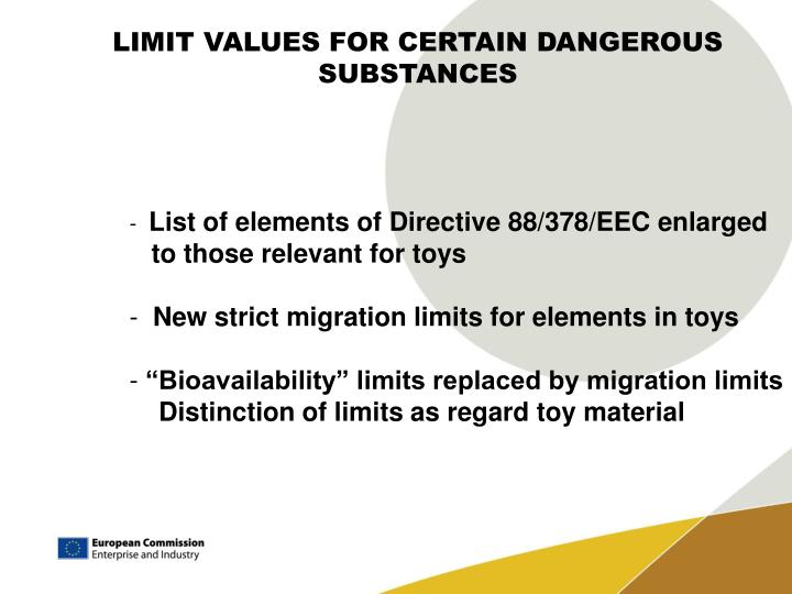 LIMIT VALUES FOR CERTAIN DANGEROUS SUBSTANCES