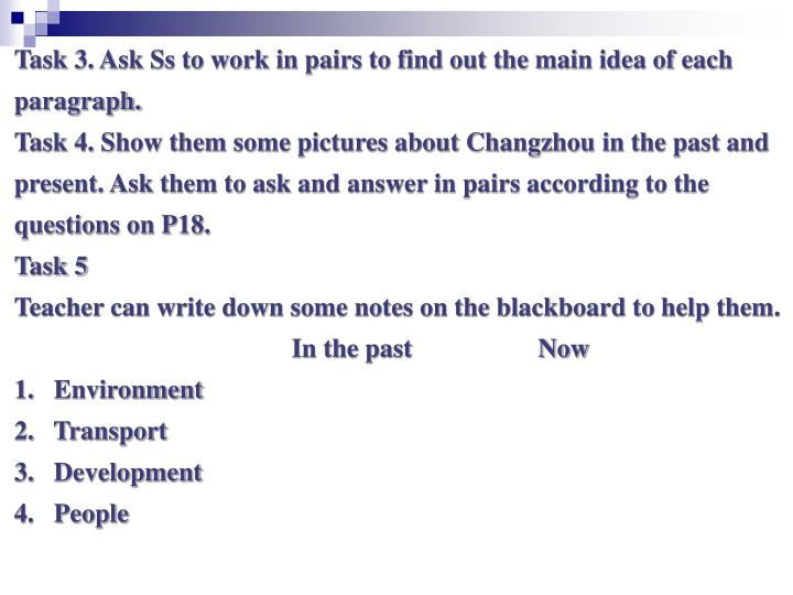 Task 3. Ask Ss to work in pairs to find out the main idea of each
