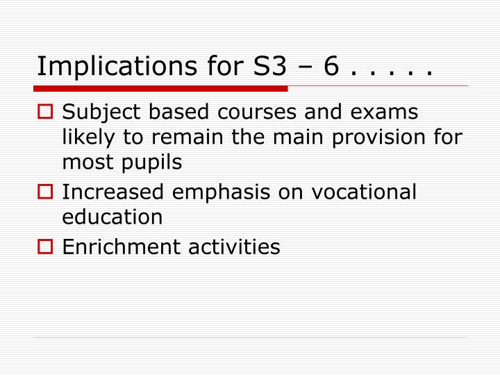 Implications for S3 – 6 . . . . .