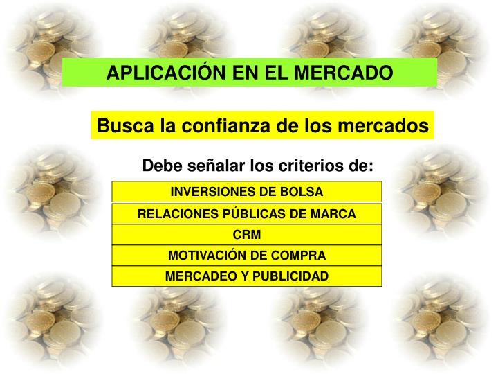 APLICACIÓN EN EL MERCADO