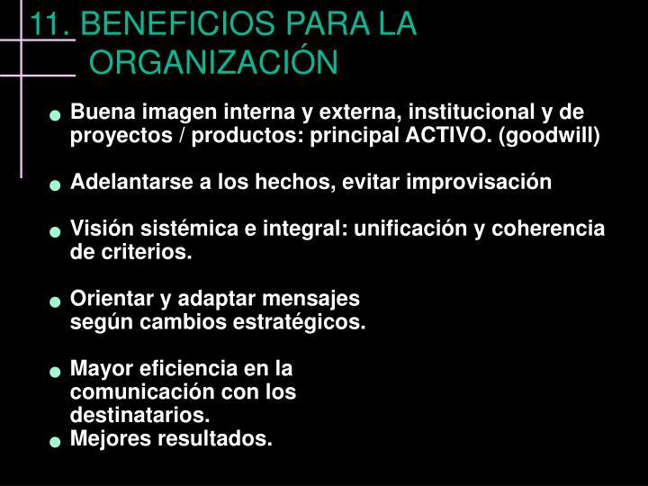 Buena imagen interna y externa, institucional y de proyectos / productos: principal ACTIVO. (goodwill)