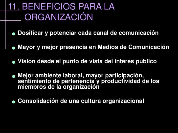 11. BENEFICIOS PARA LA ORGANIZACIÓN