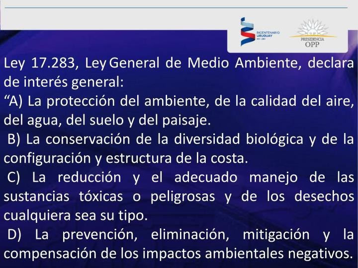 Ley 17.283, Ley