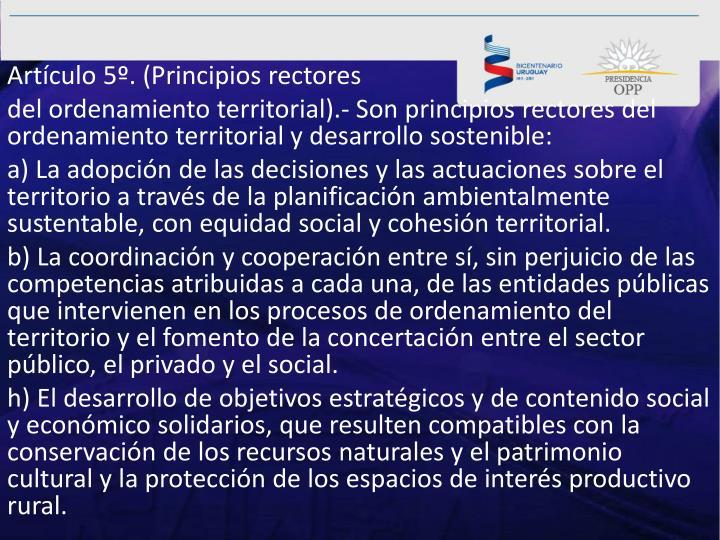 Artículo5º.(Principios rectores