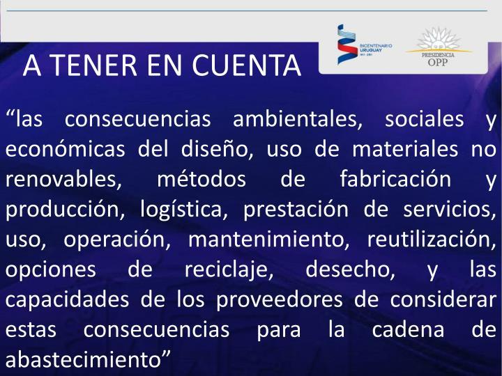 A TENER EN CUENTA