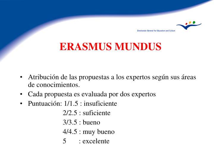 Atribución de las propuestas a los expertos según sus áreas de conocimientos.