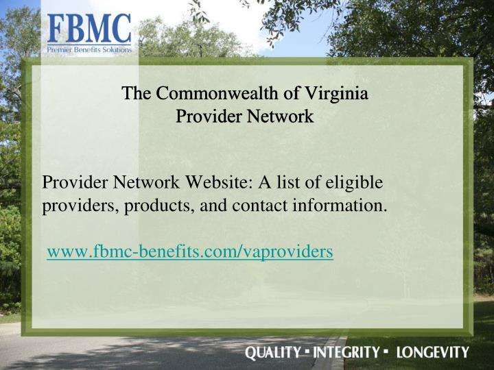 Provider Network Website: A list of eligible