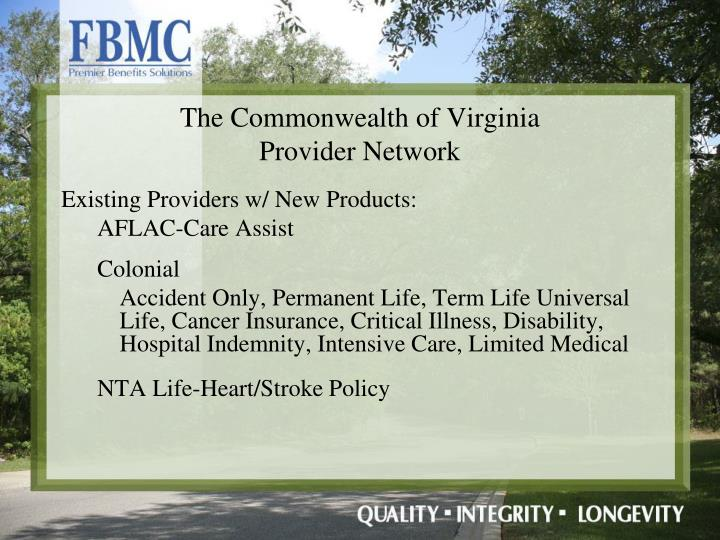 Existing Providers w/ New Products:
