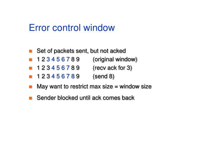 Error control window