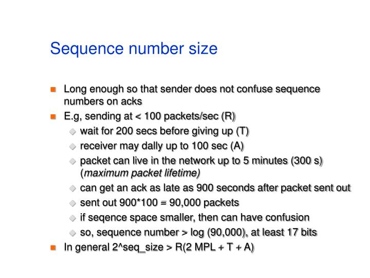 Sequence number size