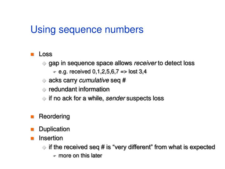 Using sequence numbers