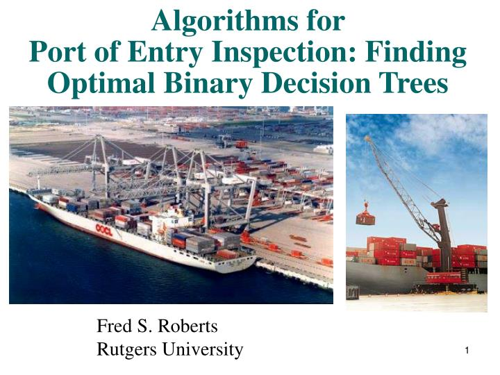 algorithms for port of entry inspection finding optimal binary decision trees