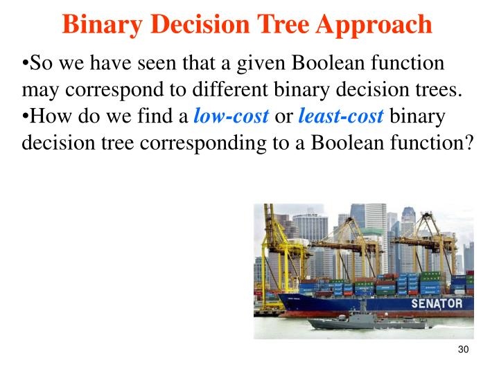 So we have seen that a given Boolean function may correspond to different binary decision trees.