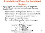 probability of error for individual sensors