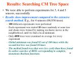 results searching cm tree space