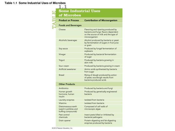 Table 1.1  Some Industrial Uses of Microbes