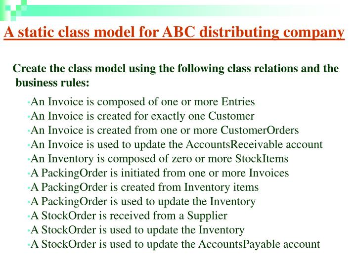 A static class model for ABC distributing company