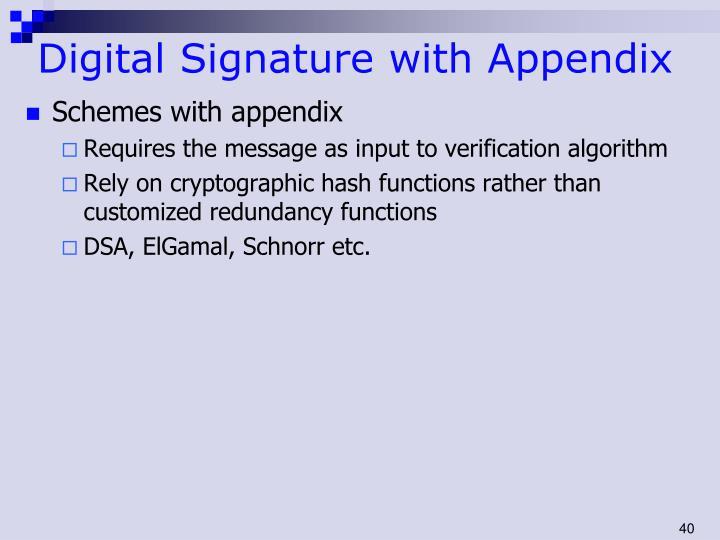 Digital Signature with Appendix