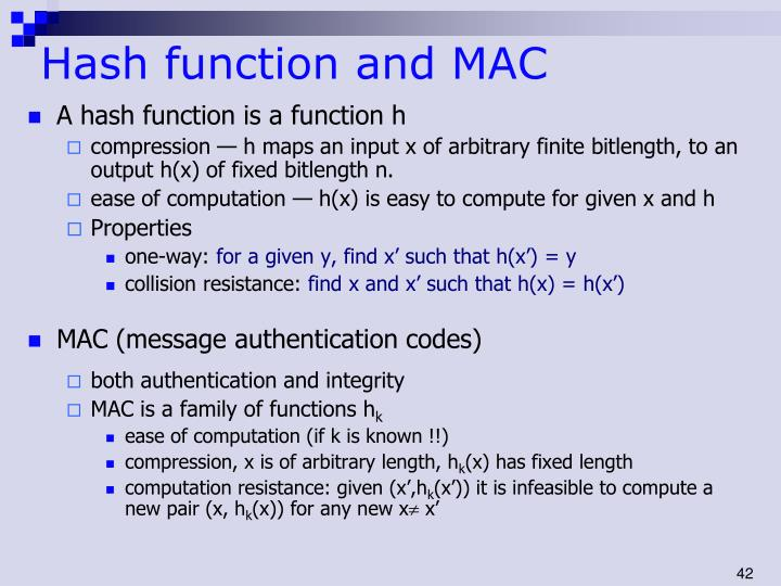 Hash function and MAC