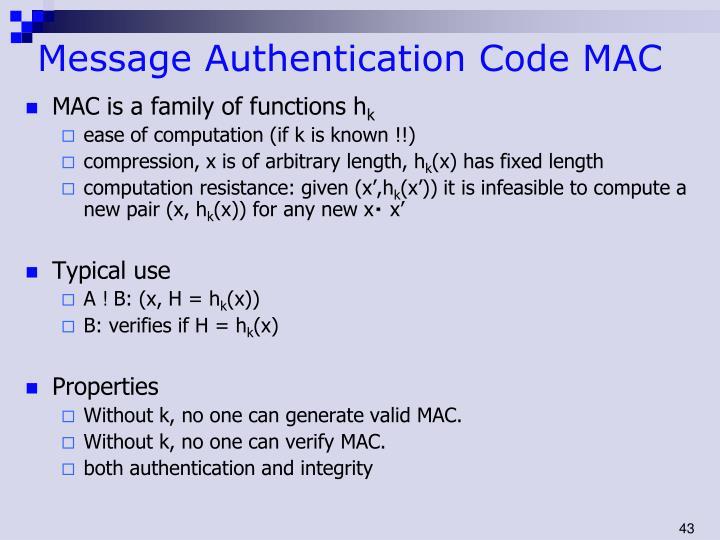 Message Authentication Code MAC