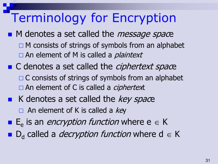 Terminology for Encryption