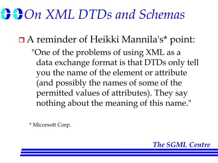 On xml dtds and schemas