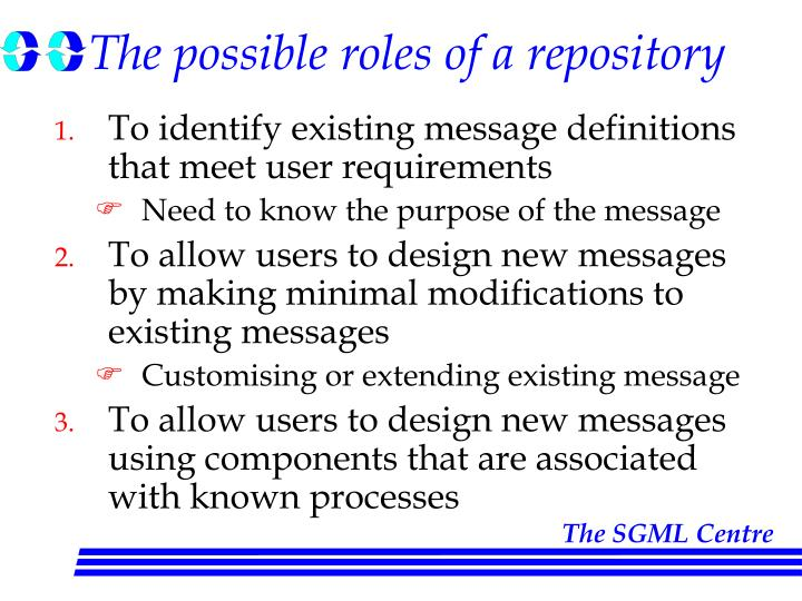 The possible roles of a repository