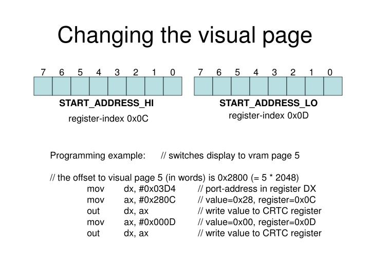 Changing the visual page