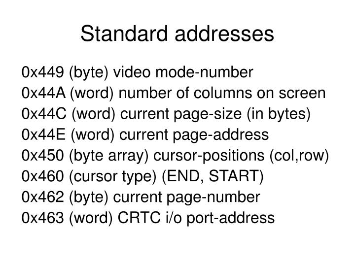 Standard addresses
