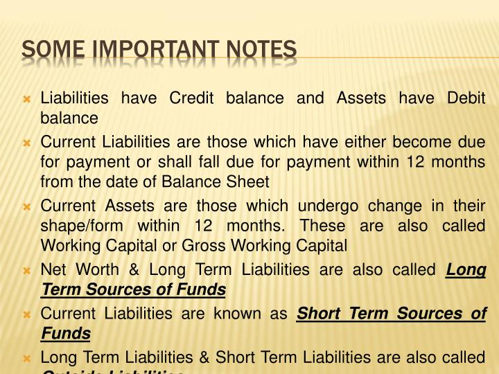 Liabilities have Credit balance and Assets have Debit balance