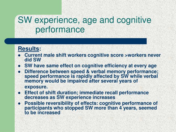 SW experience, age and cognitive                       performance