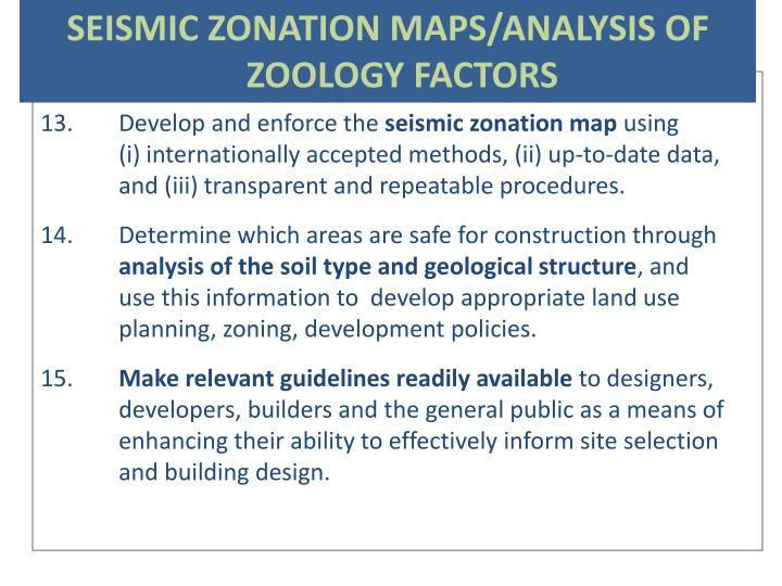 SEISMIC ZONATION MAPS/ANALYSIS OF ZOOLOGY FACTORS