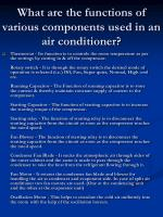 what are the functions of various components used in an air conditioner