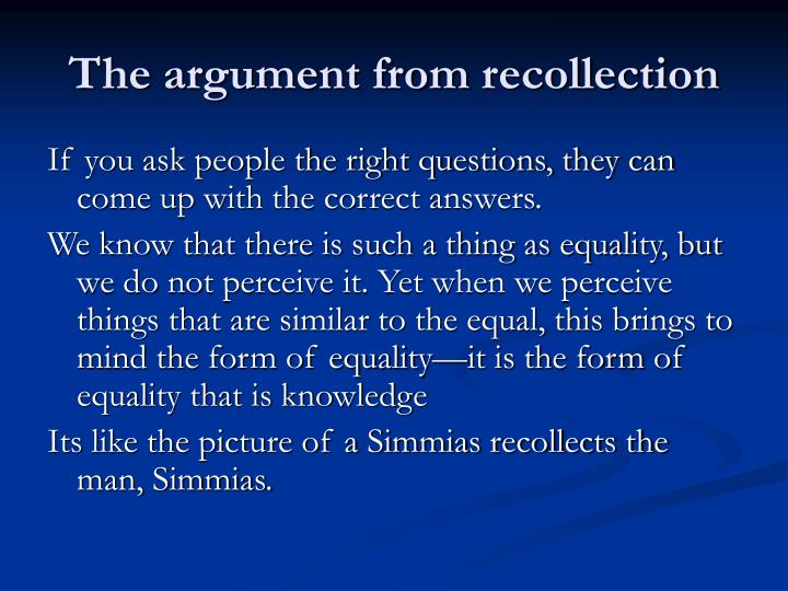 The argument from recollection