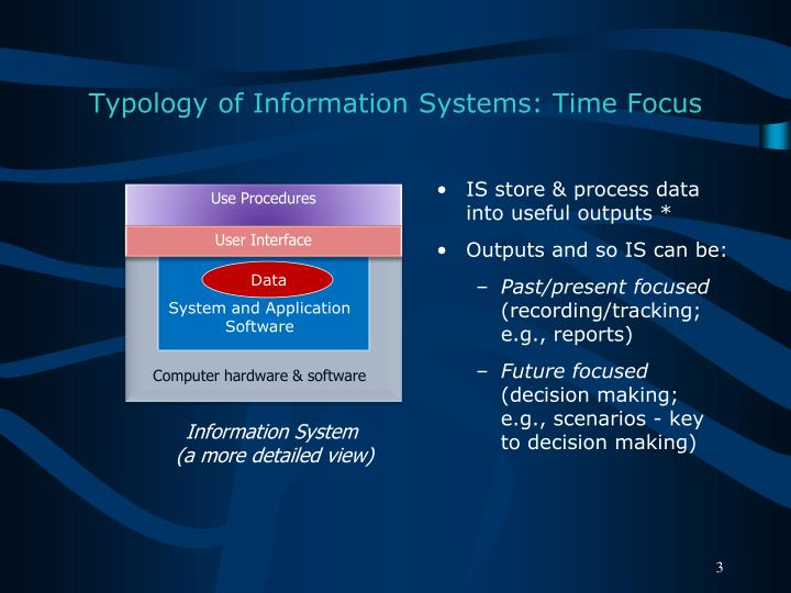 Typology of information systems time focus