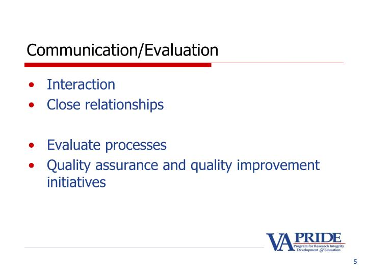 Communication/Evaluation