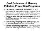 cost estimates of mercury pollution prevention programs