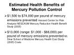estimated health benefits of mercury pollution control