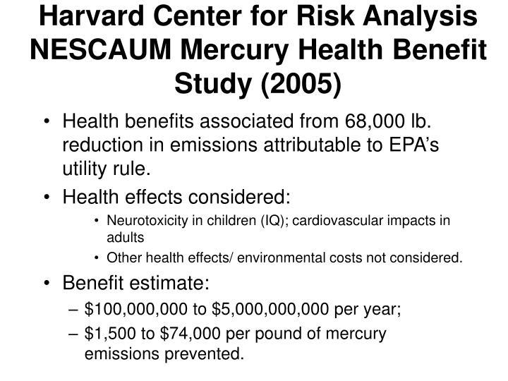 Harvard Center for Risk Analysis NESCAUM Mercury Health Benefit Study (2005)