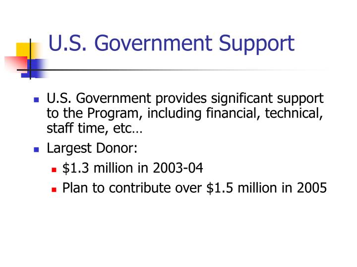 U.S. Government Support