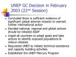 unep gc decision in february 2003 22 nd session