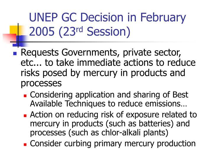 UNEP GC Decision in February 2005 (23
